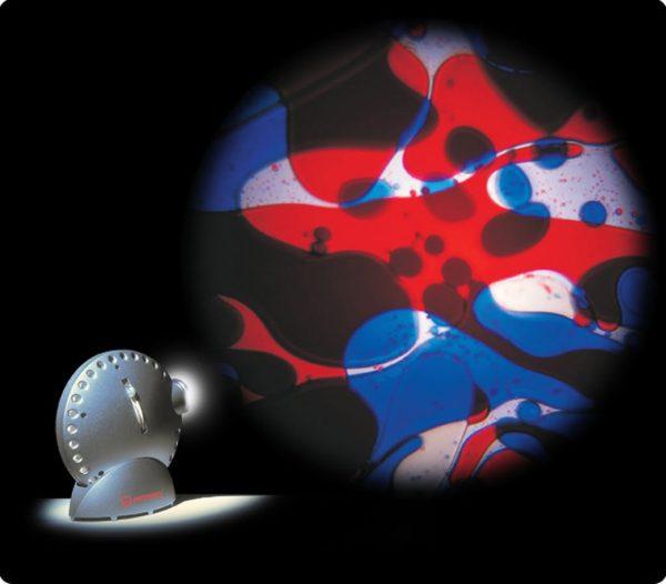 Spaceprojektor silver, inkl oljehjul röd/blå