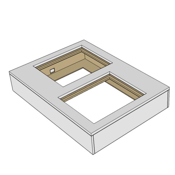 Podie 11 Rektangel Låg, 140*100*25cm VIT