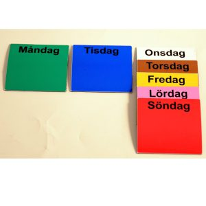 Symbolix magnetkort veckodagar 7x7cm (7st), färg