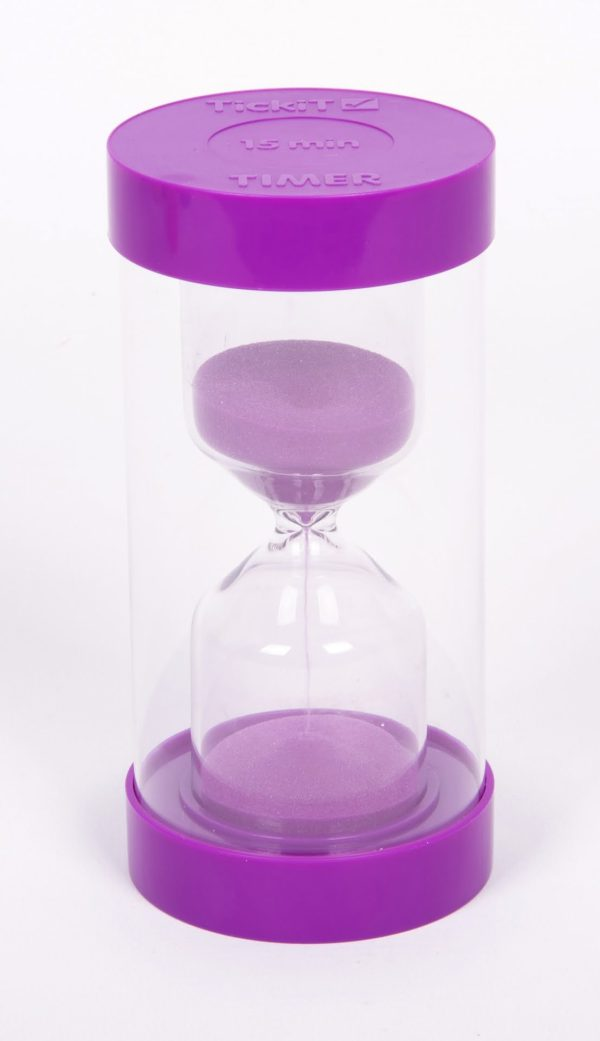 Sand-timer 16cm - 15 minuter (lila)