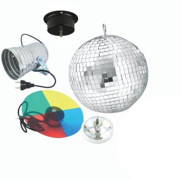 Paket: Spegelboll, pinspot, färghjul och motor