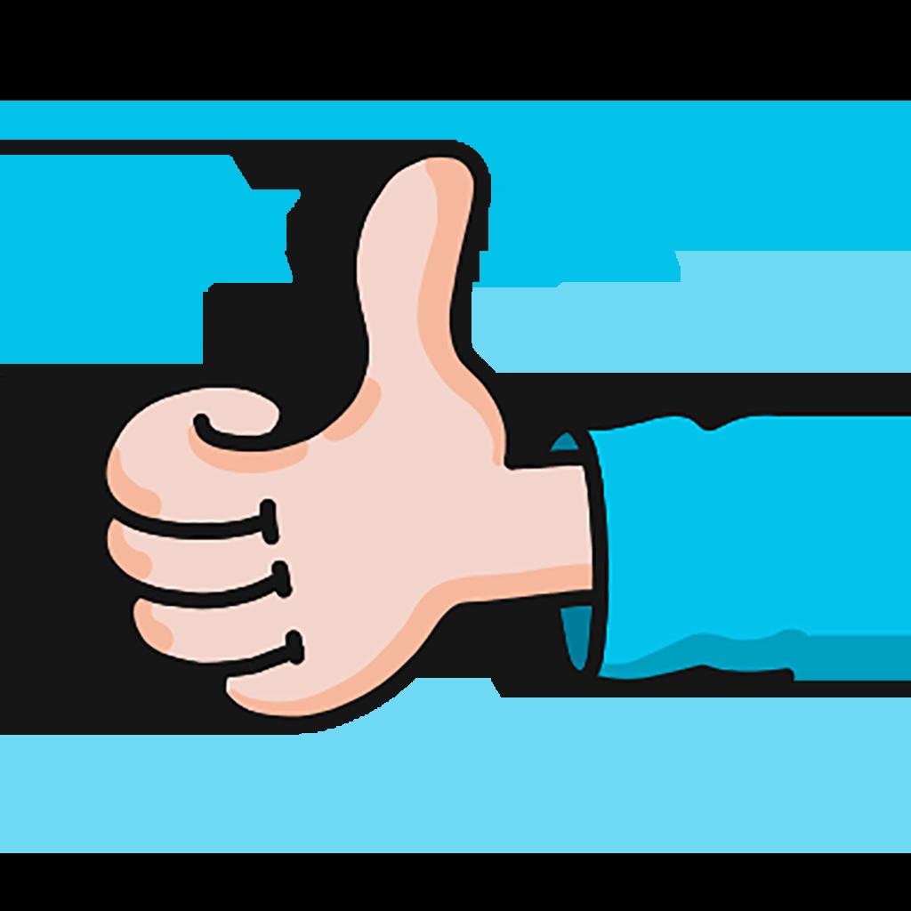 Hand med tumme upp runt handen är det blåa små stjärnor